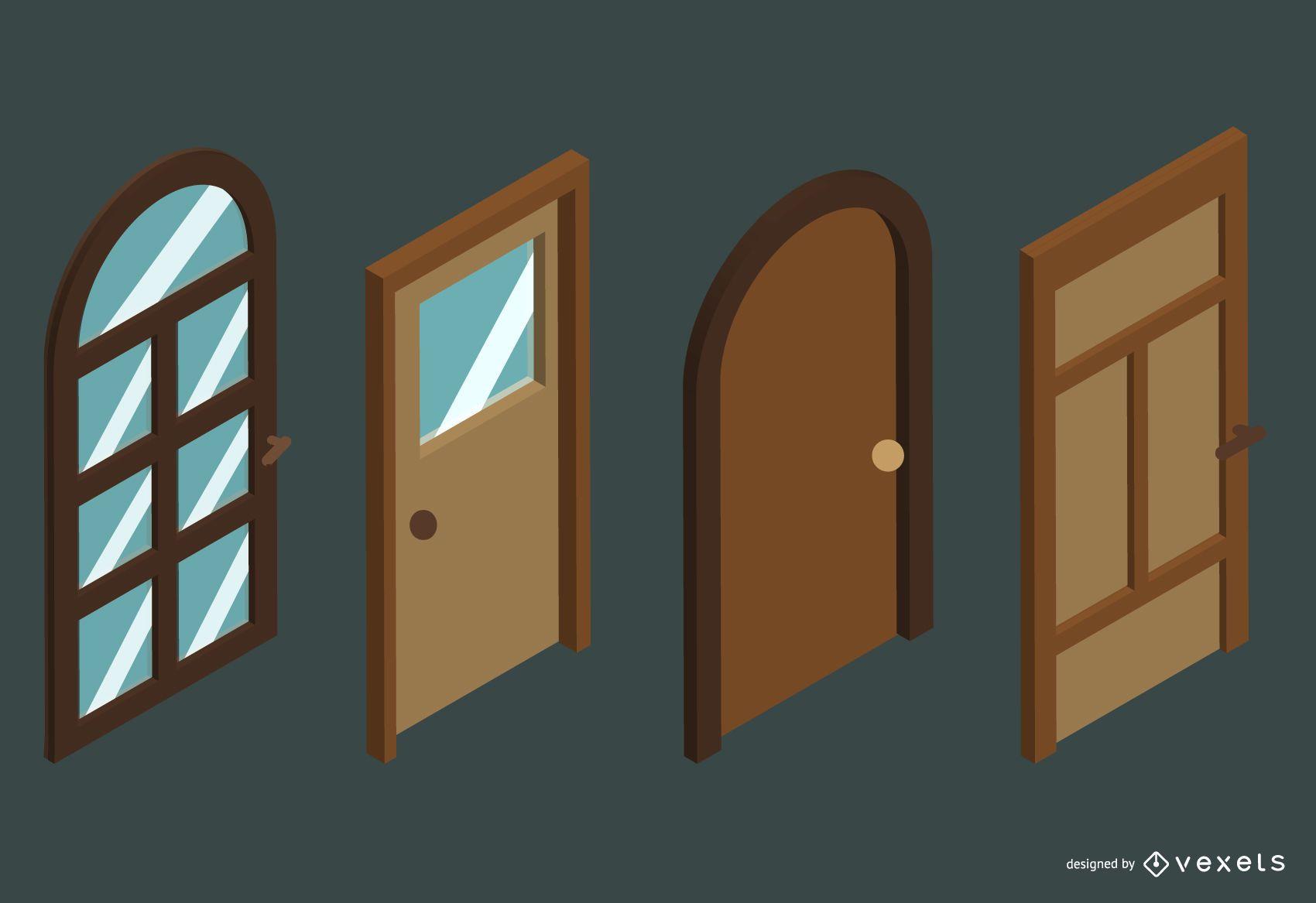 Isometric doors vector set