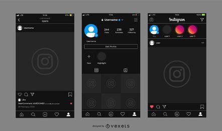 Conjunto de modelos de interface escura do Instagram