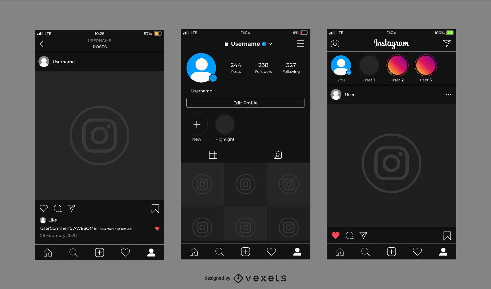 Instagram Dark Interface Template Set