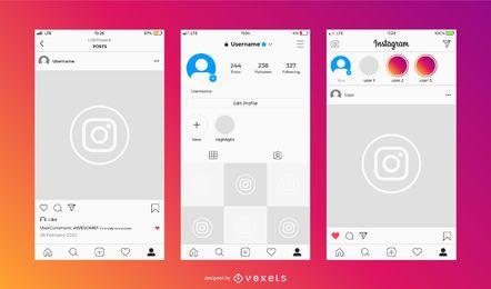 Conjunto de Design de Interface Instagram Light