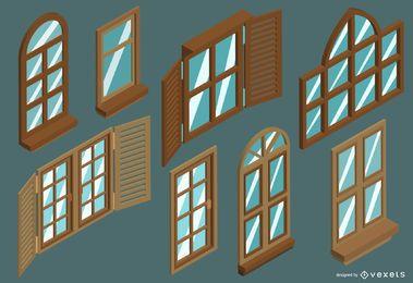 Conjunto de ventanas isométricas