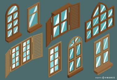 Isometric windows set