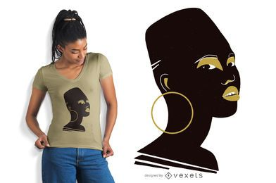 Design de t-shirt de rosto de mulher africana