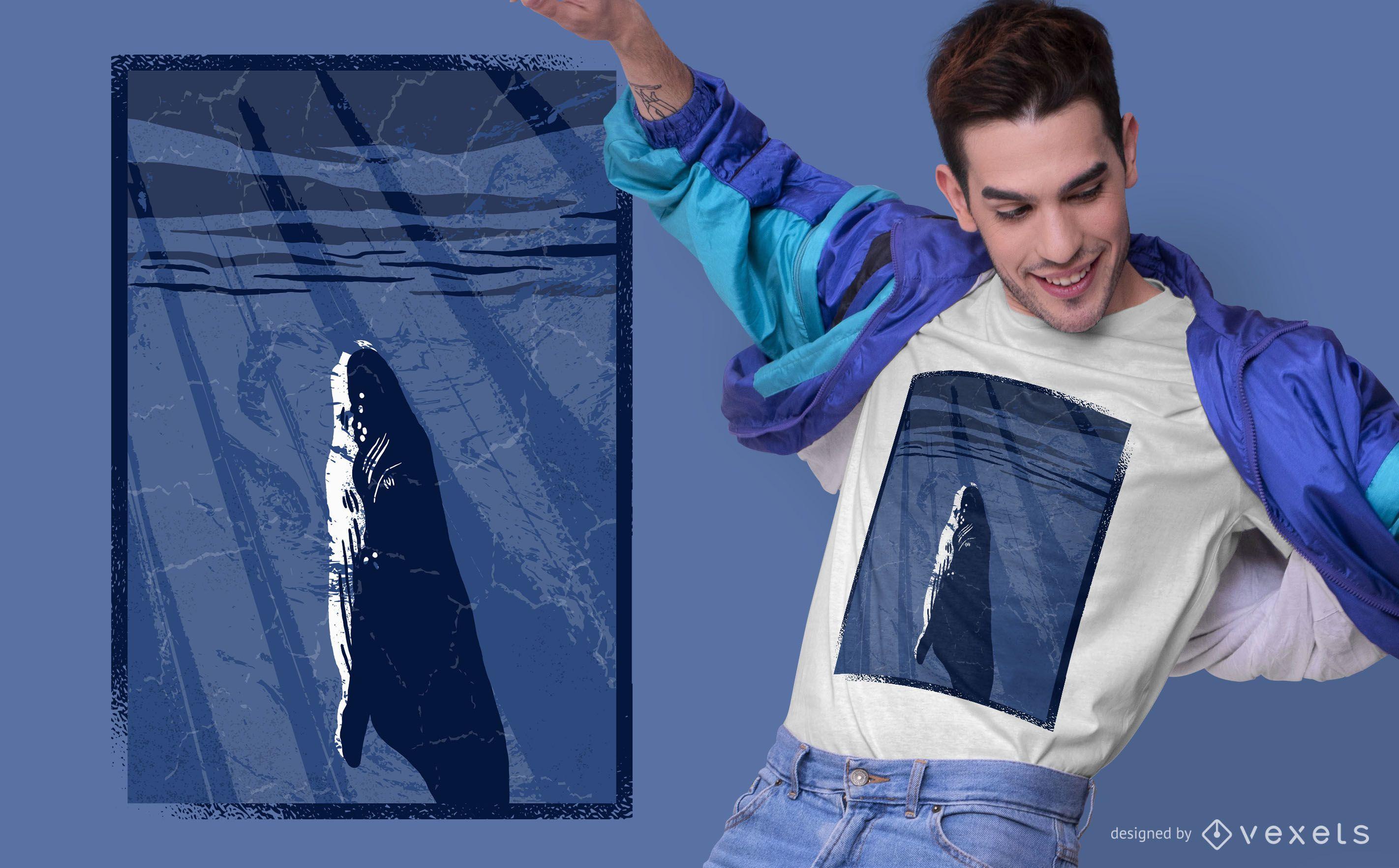 Deep sea whale t-shirt design