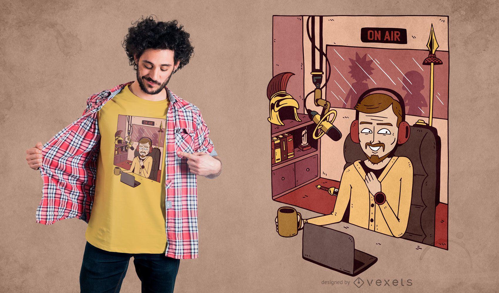 Diseño de camiseta de radio man