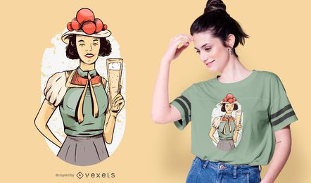 Diseño de camiseta de niña alemana