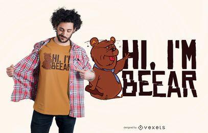 Diseño de camiseta de oso