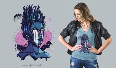 Diseño de camiseta de Space Alien Girl