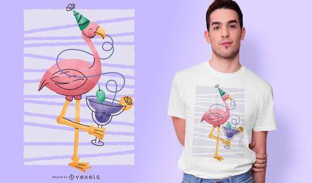 Diseño de camiseta de fiesta flamingo