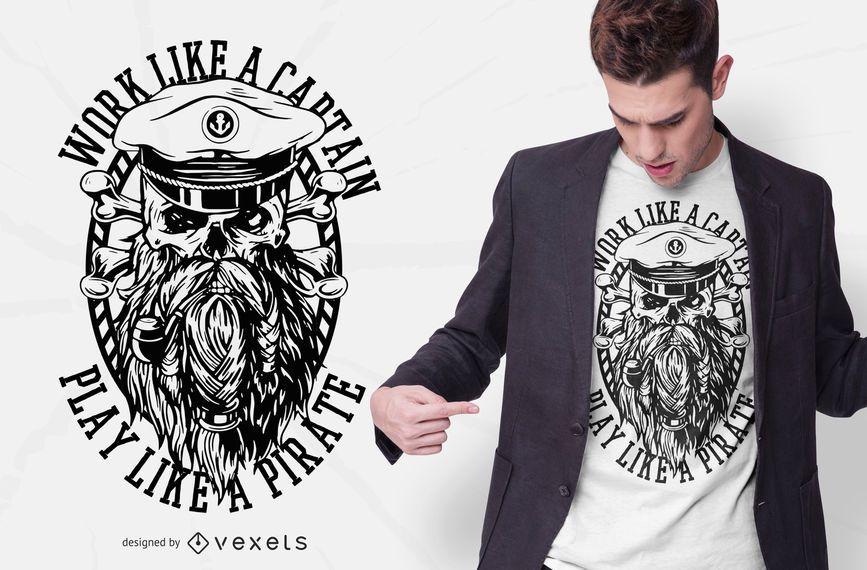 Trabalhe como um pirata no design de camisetas