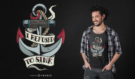 Diseño de camiseta de cita de tatuaje de ancla