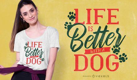 Design de t-shirt de citações de vida de cão