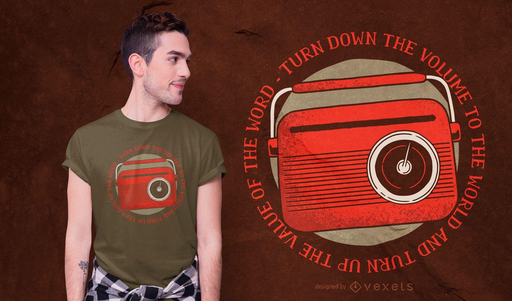 Diseño de camiseta Vintage Radio Quote