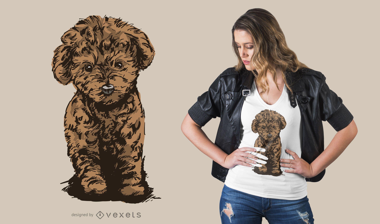 Poodle Dog Illustration T-shirt Design