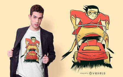Lawnmower Superhero T-shirt Design