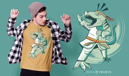 Diseño de camiseta de dinosaurio de karate