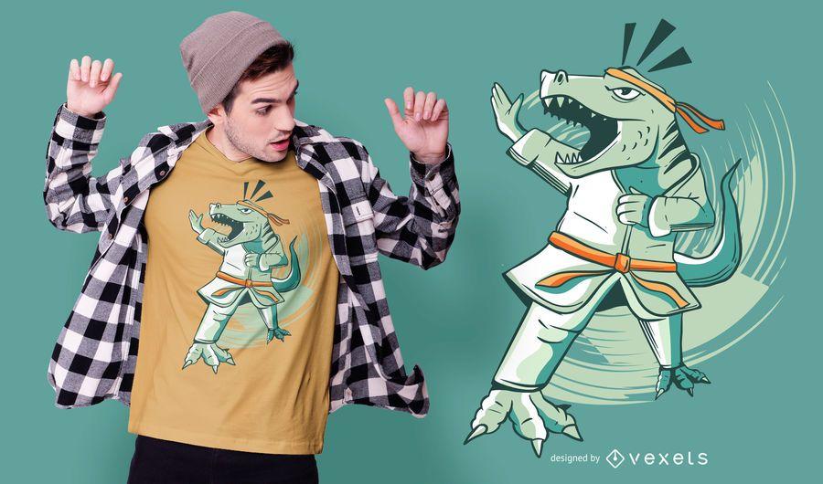 Karate Dinosaur T-shirt Design