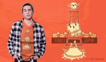 Diseño de camiseta Toast Jump