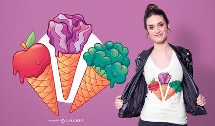 Design de t-shirt de sorvete vegetariano