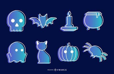 Vetorial, dia das bruxas, ícones