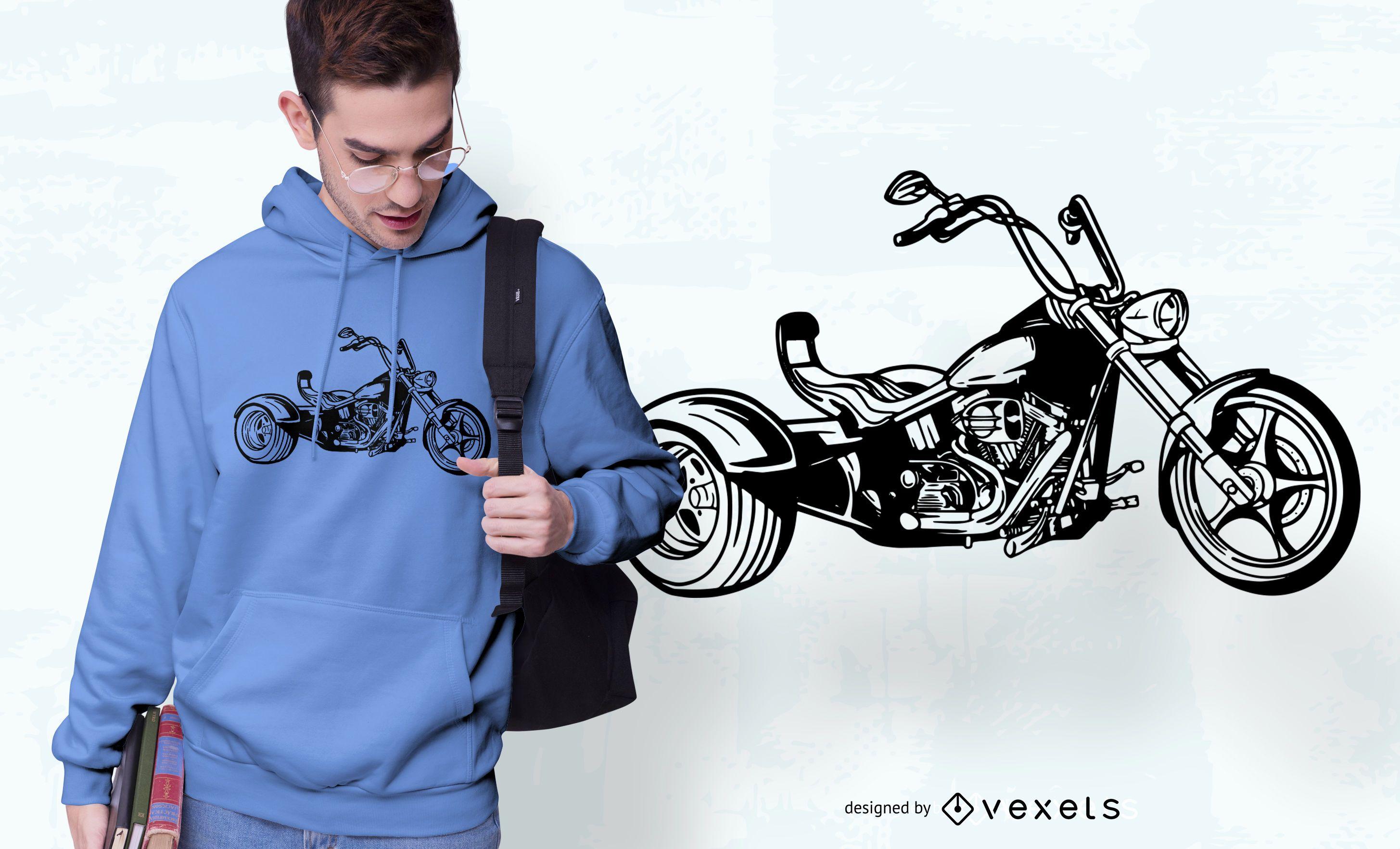 Diseño de camiseta de triciclo motorizado.