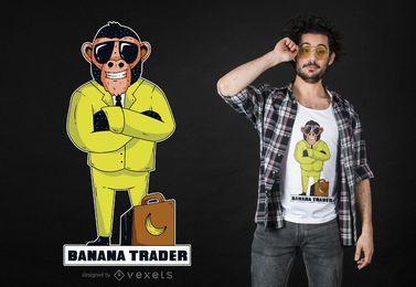 Design de t-shirt de macaco de comerciante de banana