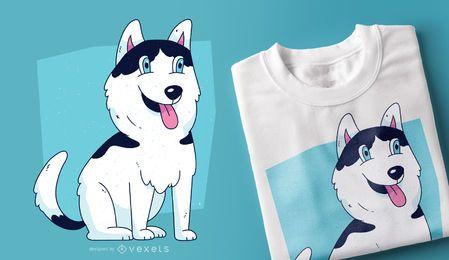 Diseño de camiseta de cachorro de perro husky