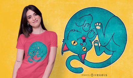 Projeto ondulado do t-shirt do gato