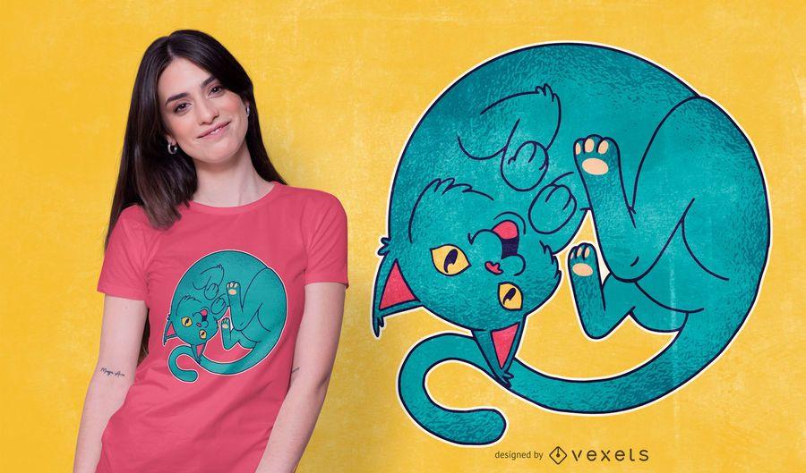 Curled Cat T-shirt Design