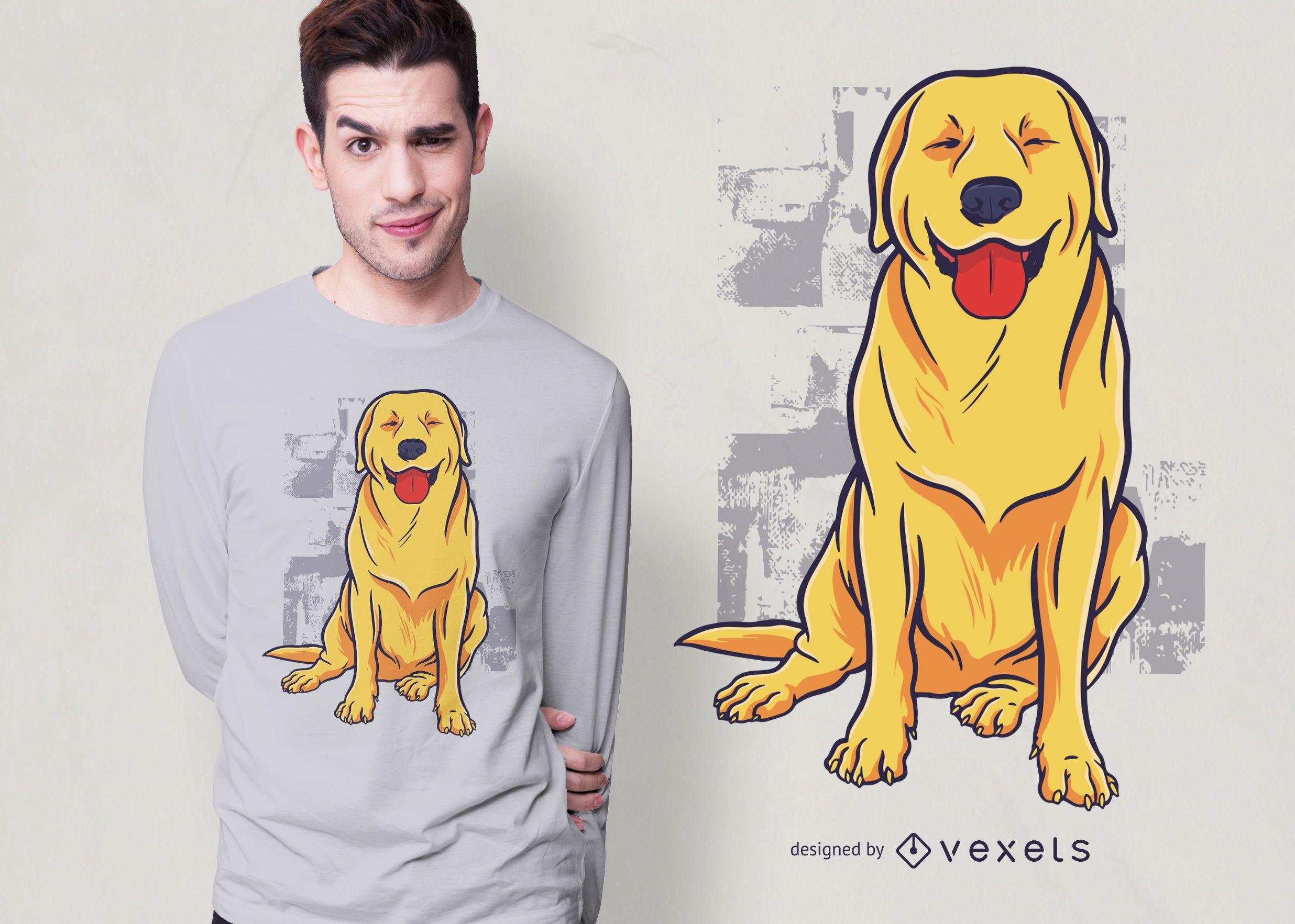 Glückliches goldenes Retriever-T-Shirt Design