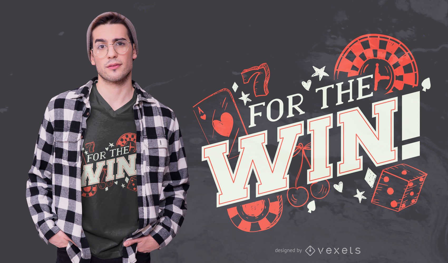 For The Win Casino Quote T-shirt Design