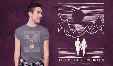 Diseño de camiseta de cita de pareja de montaña