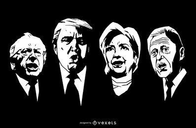 Projeto de estêncil de figuras políticas dos EUA