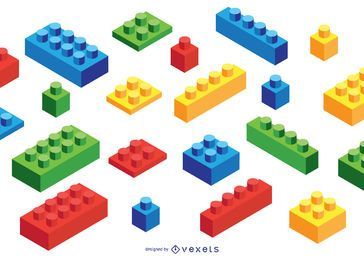 Toy Brick Isometric Elements Set