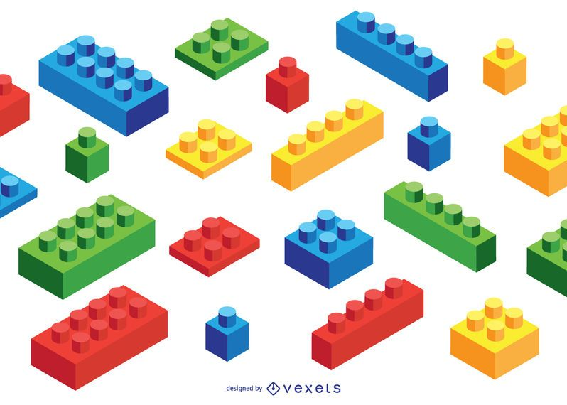 Toy Brick Isometric Elements Set