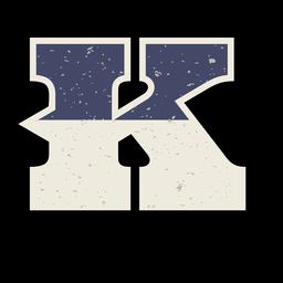 Letra maiúscula ocidental sombreada k
