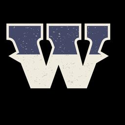 Letra maiúscula ocidental sombreada w