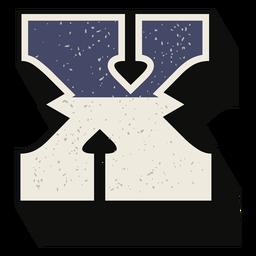 Letra maiúscula ocidental sombreada x