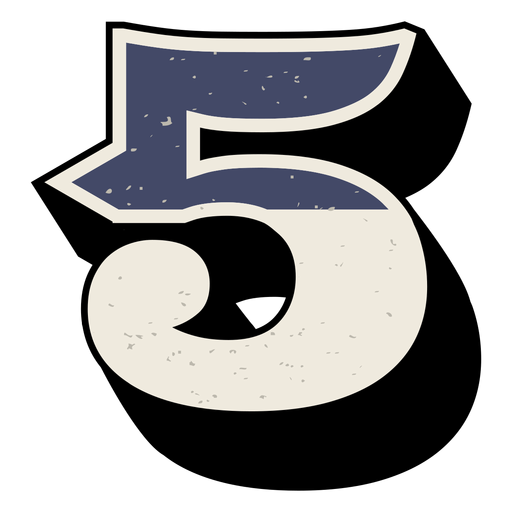 Número occidental sombreado 5 Transparent PNG