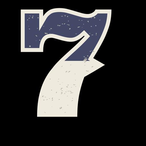 Número occidental sombreado 7 Transparent PNG