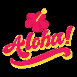 Aloha flower hawaiian lettering