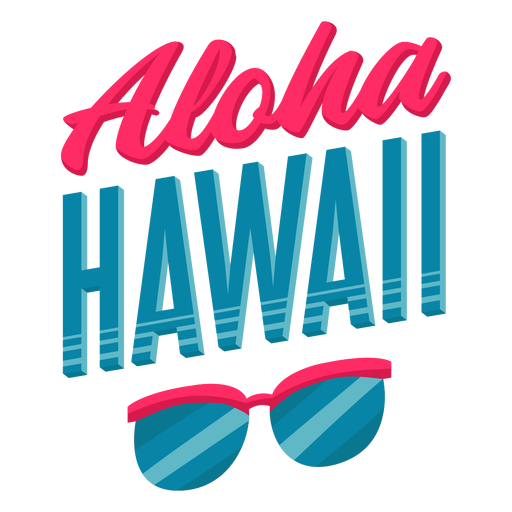Aloha sunglasses hawaiian lettering Transparent PNG