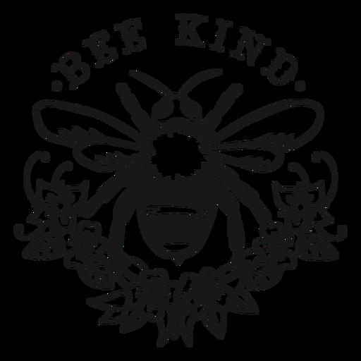 Ser amable abeja flor letras Transparent PNG