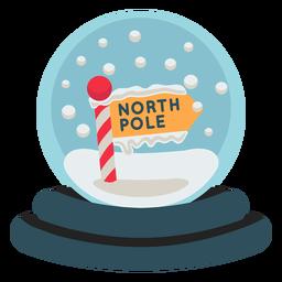Icono de globo de nieve del polo norte de Navidad