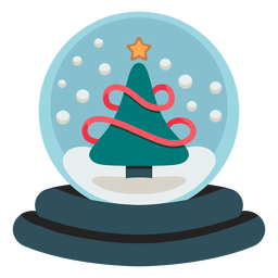 Christmas tree snowglobe icon