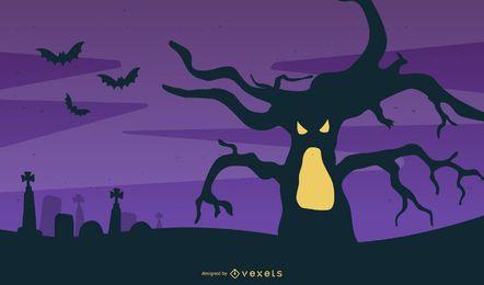 Cartel del árbol del monstruo de Halloween
