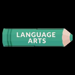 Lápiz de color tema escolar icono de artes del lenguaje