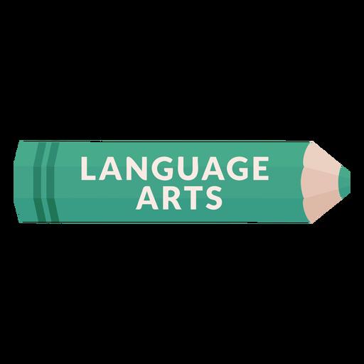 Ícone de artes da linguagem da matéria escolar do lápis de cor