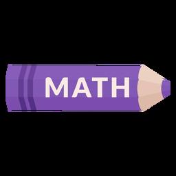 Icono de matemáticas de materia escolar de lápiz de color