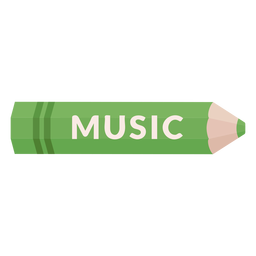Icono de música de tema escolar lápiz de color